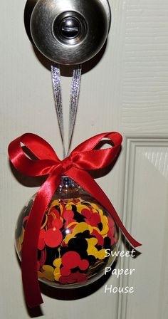 Mickey Mouse Ornament Christmas Red Ribbon by SweetPaperHouse, $20.00