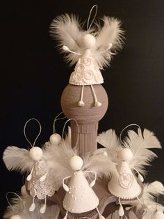 Angels and more angels! #Christmas #angels #ornaments #feathers #crafts #DIY