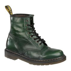 Dr Martens Worn Smooth Green 8 Up ($69) ❤ liked on Polyvore featuring shoes, boots, ankle booties, doc martens, dr. martens, women, dr martens boots, green boots and green booties