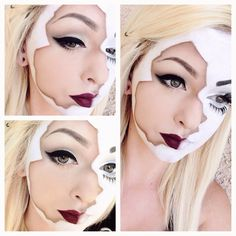 Proper shading is used to create a broken doll effect. This makeup will be perfect for Halloween. See the list of products for some inspiration. Costume Halloween, Looks Halloween, Doll Costume, Costume Makeup, Halloween Make Up, Halloween Face Makeup, Scary Doll Makeup, Halloween Ideas, Creepy Costumes