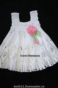 White Thread Crochet Baby Dress size 03 month by csabin on Etsy Crochet Dress Girl, Baby Girl Crochet, Crochet Baby Clothes, Crochet For Kids, Crochet Baby Dresses, Mode Crochet, Knit Crochet, Thread Crochet, Baby Dress Patterns