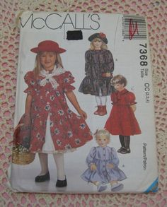 McCall's 7368 dress with tiered skirt and ruffles petticoat and shawl. 1994 size 2-3-4
