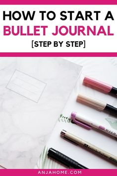 Learn how to start a bullet journal without feeling overwhelmed. It's easy to get lost in all of these awesome bullet journal ideas you can find online. Here you find a super easy bullet journal starting guide for beginners with bujo basics like key and index ideas, bujo weekly spreads, monthlies, collections #anjahome #bulletjournal Get ready your 2020 bullet journal now