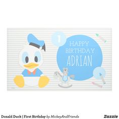 Celebrate your child's First Birthday with this personalized Baby Donald striped Birthday banner. First Birthday Banners, Disney Birthday, Baby Birthday, Birthday Party Themes, Birthday Invitations, Birthday Cards, Birthday Ideas, Donald Duck Party, Disney Cards