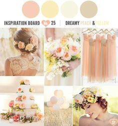 Peach & yellow wedding- May be perfect! Pink Yellow Weddings, Pastel Wedding Colors, Summer Wedding Colors, Wedding Color Schemes, Peach Weddings, Summer Colors, Trendy Wedding, Our Wedding, Dream Wedding