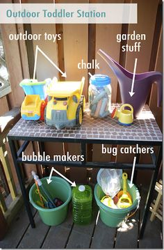 I need to remember to do this.  We already have the buckets.  Outdoor toy organization ideas