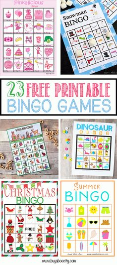 23 Free Printable Bingo Games by Kim.Bingo is, hands-down, one of our favorite activities! It is a great game to play on a cold [. Bingo Games For Kids, Printable Games For Kids, Printable Cards, Free Printables, Daycare Games, Bingo Games Free, Game Bingo, Geek House, Christmas Bingo