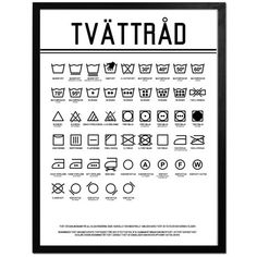Poster med tvättsymboler - perfekt till tvättstugan!