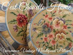 Hummingbird tuffets (vintage needlepoint pillows) #vintageneedlepoint #vintageneedlepointpillow