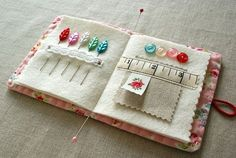 tutorial by I made three needle books using this idea of adding lace or ribbon in the page of the book. Just lovely --- ClarissaI made three needle books using this idea of adding lace or ribbon in the page of the book. Just lovely --- Clarissa Felt Crafts, Fabric Crafts, Sewing Crafts, Needle Case, Needle Book, Needle And Thread, Sewing Case, Hand Sewing, Sewing Hacks
