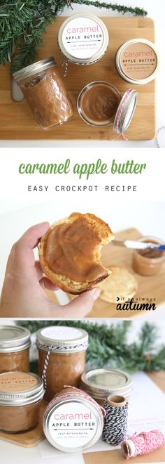 This recipe for caramel apple butter is easy to make in the crockpot and tastes amazing! Wonderful DIY Christmas gift idea. Comes with free labels for the jars. Slow cooker recipe. (Apple Recipes Crockpot)