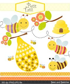 Bees clip art  Digital clip art. for all use bee and by petittatti, $4.95