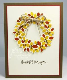 Good Greetings Fall Wreath -- Wonderful Wreath Bundle and Good Greetings Stamp Set  www.JillsInk.com