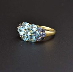 Blue topaz Amethyst Gold Cluster Ring