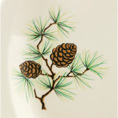 Conifer Cone Vintage Platter Universal Ballerina Mid Century Plate... ($25) ❤ liked on Polyvore featuring home, kitchen & dining, serveware, pine cone, vintage, fall plates, autumn plates, serving platters and serving plates