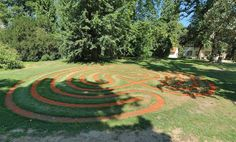 Nicely coloured sand labyrinth at Loucen Castle in Czech republic. Lots of mazes and labyrinths there - add to bucket list.