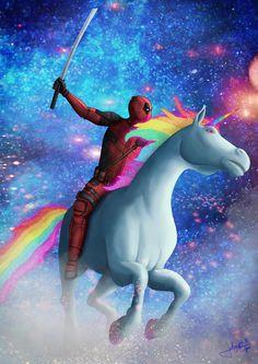 Deadpool on a Unicorn, johnny bijos on ArtStation at https://www.artstation.com/artwork/deadpool-on-a-unicorn