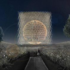 The Hive by Night by Wolfgang Buttress shows the UK Pavilion at Milan Expo. Architecture Drawings, Futuristic Architecture, Architecture Design, Expo Milano 2015, Expo 2015, Neo Futurism, Architectural Pattern, Pavilion Design, Parametric Design