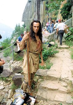 """Daniel Day-Lewis on the set of """"The Last of the Mohicans"""""""