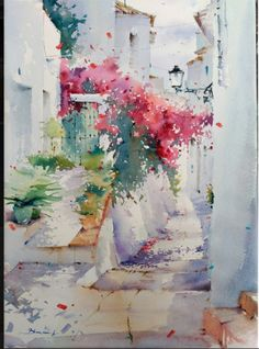 Oil painting - the living art! Watercolor Scenery, Watercolor Landscape Paintings, Watercolor And Ink, Watercolour Painting, Watercolor Flowers, Watercolours, Art Floral, Oeuvre D'art, Painting Inspiration