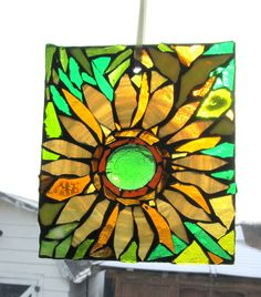 Sunflower  - Mosaic Stained Glass SunCatcher or wall Decoration