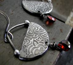 sterling relief crescent discs with wire-wrapped faceted garnet briollettes