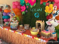 's Birthday / Moana - Photo Gallery at Catch My Party Moana Birthday Decorations, Moana Birthday Party Theme, Moana Themed Party, Moana Party, Hawaiian Birthday, Luau Birthday, 3rd Birthday Parties, Aloha Party, Luau Party