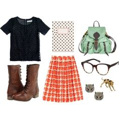first day of class, created by athensstreetstyle on Polyvore