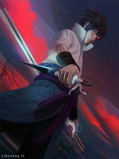 Sasuke Manga Art by Yihyoung Li Sasuke Uchiha Shippuden, Hinata, Kakashi, Naruto And Sasuke, Naruto Shippuden Anime, Anime Naruto, Fan Art Naruto, Team 7, Manga Art