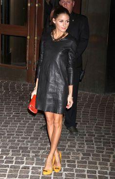 Olivia Palermo - leather dress