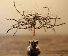 Green beaded wire tree by SparksCollection on Etsy, $15.00