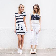nas terças a gente usa branco! ⚪️✨ & listras & jeans & tênis. #stylemood