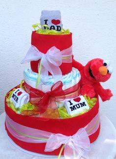 Torta di pannolini Pampers, con Elmo