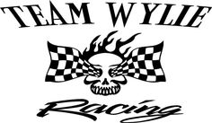 Flame Skull Racing Team Name Trailer Decal - Vinyl Decal - Custom Text -Trailer Sticker - YT03B