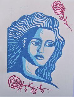 You are beautiful linocut print