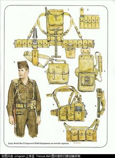 Army combat equipment World War II, harness: Military Units, Military Gear, Military Photos, Military Weapons, Military History, Ww2 Uniforms, Military Uniforms, Army Gears, Army Infantry