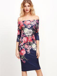 Vestido con hombros al aire y estampado de rosa - multicolor -Spanish SheIn(Sheinside)