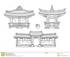 hanok-korean-traditional-architecture-vector-outline-set-palace-house-asia-village-culture-asian-home-illustration-61114489.jpg (1300×1065)