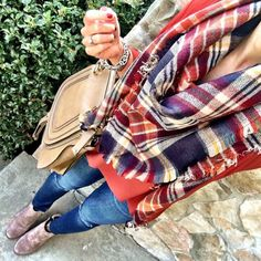 IG @mrscasual <click through to shop this outfit> BP Triangle Plaid Scarf chloe marcie satchel ankle booties