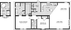 Manufactured home floor plan The Imperial Model 2 Bedrooms, 2 Baths - Jacobsen Homes - Mobile Home Floor Plans, Bedroom Floor Plans, New House Plans, House Floor Plans, Best Modular Homes, Home Decor Bedroom, Master Bedroom, Two Bedroom Tiny House, Manufactured Homes Floor Plans