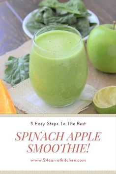 Make this easy Spinach Apple Smoothie that is grain-free, gluten-free, dairy free, paleo and vegan! Will become your favorite green smoothie! Apple Spinach Smoothie, Vegetable Smoothie Recipes, Green Smoothie Recipes, Easy Smoothies, Fruit Smoothies, Vegan Smoothies, Smoothies With Spinach, Smoothie Vert, Vegan Recipes