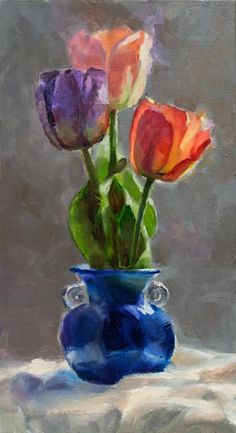 ARTFINDER: Cobalt and Tulips - Still Life Painti... by Karen Whitworth - As soft light illuminates this cobalt vase, it gently filters through the delicate and colorful flower petals. Spring tulips are beautiful symbols of winters...