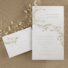 Gold Branches & Birds Design Shimmering Invitation  This beautiful non-folding invitation features a branch and bird design in gold accents on shimmering paper. You may add a quotation of your choice at the top of the invitation above your wording.