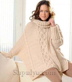 Пуловер-пончо с узором из кос