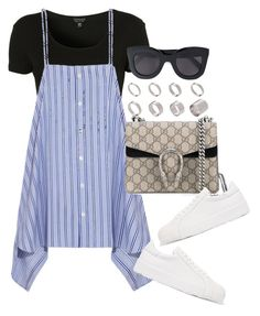 A fashion look from June 2017 featuring striped shirt, cropped shirts and white shoes. Browse and shop related looks. Girls Fashion Clothes, Teen Fashion, Korean Fashion, Fashion Outfits, Cute Edgy Outfits, Pretty Outfits, Stylish Outfits, Mode Ootd, Mode Kpop