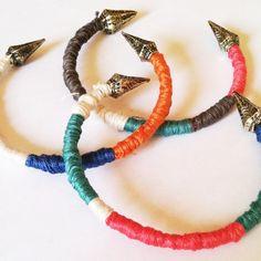 GageHuntley.com  #tribal #spike #bangle #satin #wrap #colorblock #colorful #accessories #bracelet #brass #armswag #womens #mens #unique #boho #jewelry