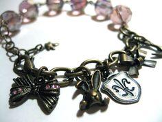 Pink Sweet Lolita Charm Bracelet  Antiqued gold by NightsRequiem, $19.50