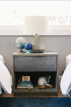 Crystal Palecek, Editor-In-Chief of Rue Magazine, partnered with RH Interior Design to create a perfectly classic shared room for her two boys. Featuring Meier Nightstand and RH TEEN Gannon Conrete Table Lamp.