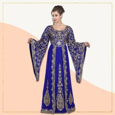 Looking like royalty was never this easy! This Dubai Caftan is an ideal outfit for that next wedding celebration to make you stand out from the rest. It's statement bell sleeves, Queen Anne neckline and a mix of Aari machine embroidery and hand embellished sequins, truly make this outfit a head turner. Product no: 5549 Kaftan Abaya, Caftan Dress, Modest Dresses, Bridal Dresses, Queen Anne Neckline, Next Wedding, Modest Fashion, Dubai, Bell Sleeves