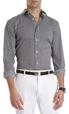 2d88e8ec098  209 Ralph Lauren Black Label Striped Dress Shirt. Shannon Brown